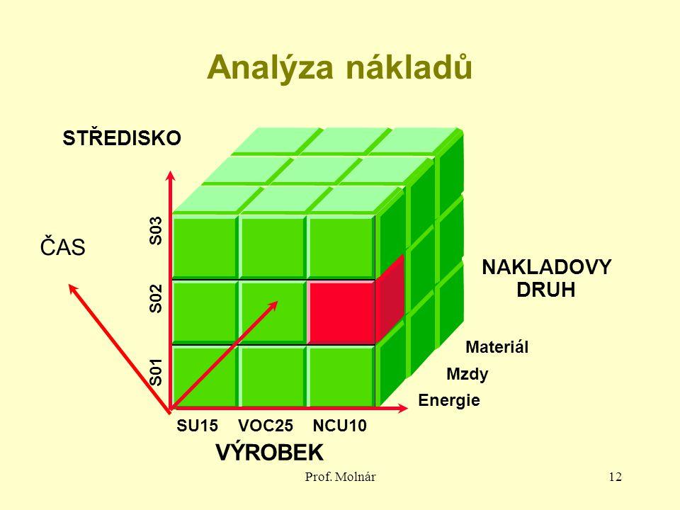 Prof. Molnár12 Analýza nákladů NAKLADOVY DRUH VÝROBEK STŘEDISKO Materiál Mzdy Energie SU15 VOC25 NCU10 S01 S02 S03 ČAS
