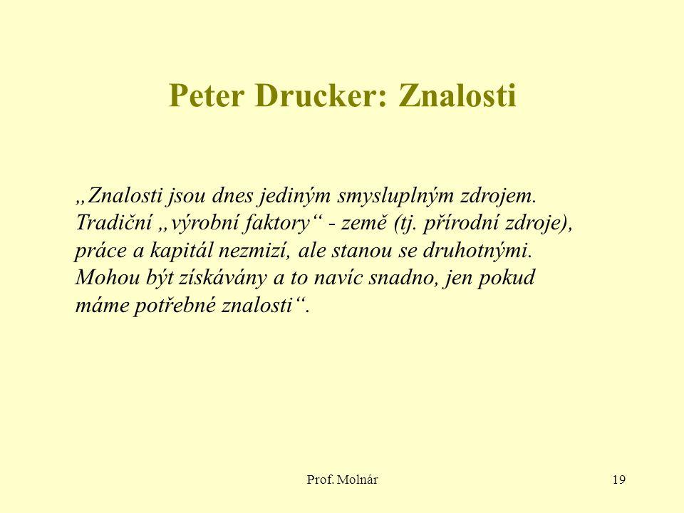 """Prof. Molnár19 Peter Drucker: Znalosti """"Znalosti jsou dnes jediným smysluplným zdrojem. Tradiční """"výrobní faktory"""" - země (tj. přírodní zdroje), práce"""