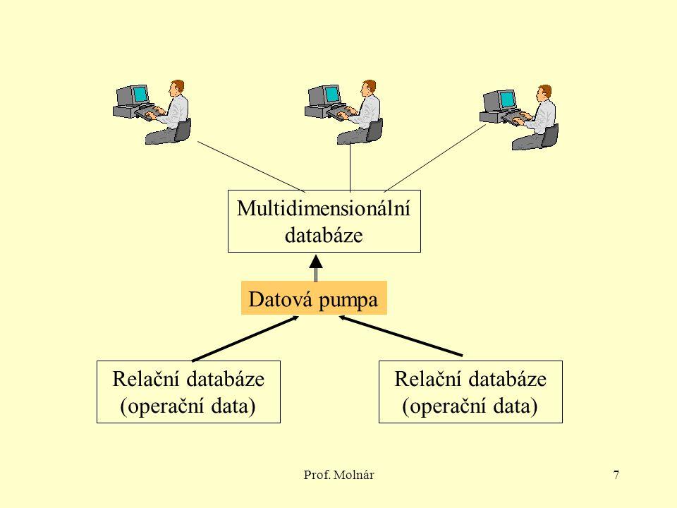 Prof. Molnár7 Relační databáze (operační data) Multidimensionální databáze Datová pumpa Relační databáze (operační data)
