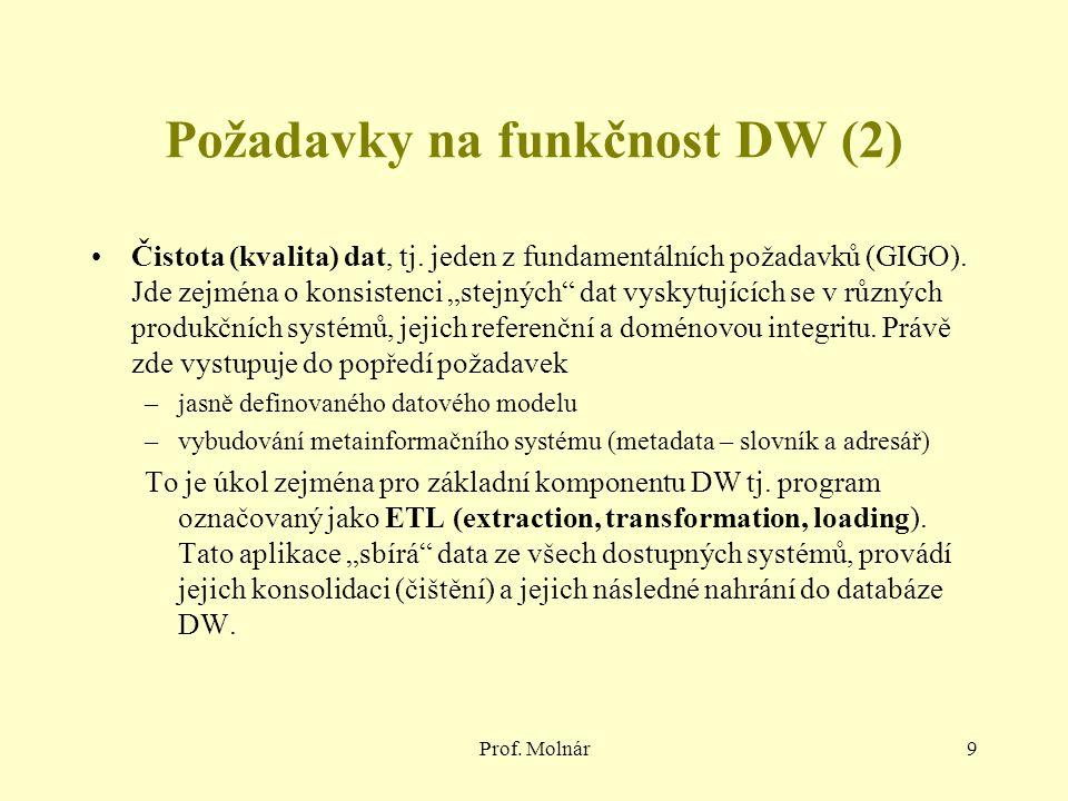 "Prof. Molnár9 Požadavky na funkčnost DW (2) Čistota (kvalita) dat, tj. jeden z fundamentálních požadavků (GIGO). Jde zejména o konsistenci ""stejných"""