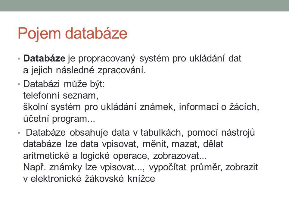 Pojem databáze Databáze je propracovaný systém pro ukládání dat a jejich následné zpracování. Databázi může být: telefonní seznam, školní systém pro u
