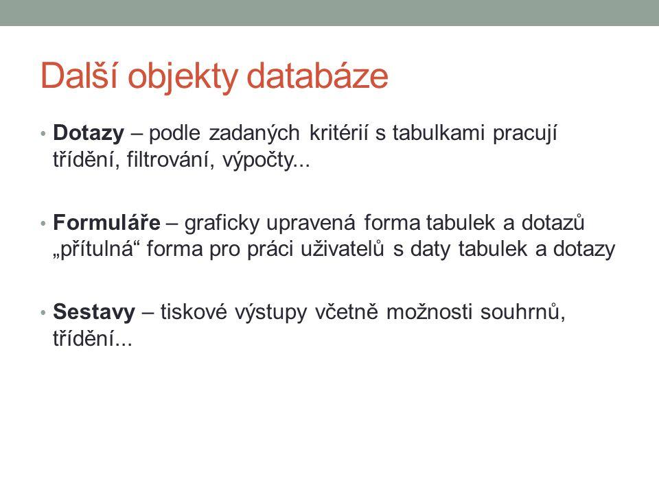 Další objekty databáze Dotazy – podle zadaných kritérií s tabulkami pracují třídění, filtrování, výpočty... Formuláře – graficky upravená forma tabule
