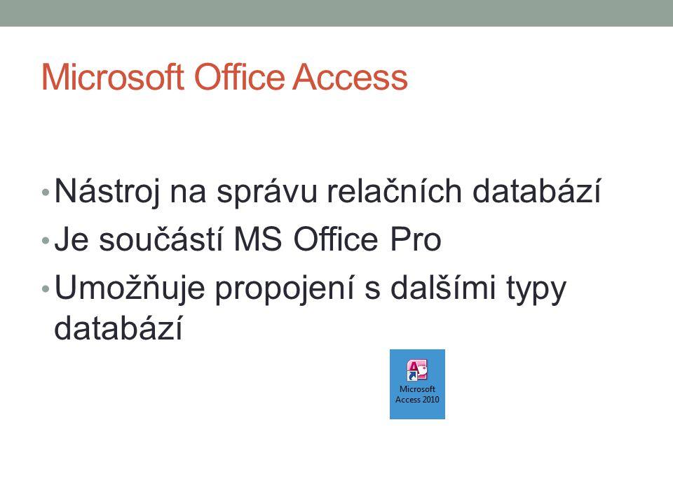 Microsoft Office Access Nástroj na správu relačních databází Je součástí MS Office Pro Umožňuje propojení s dalšími typy databází