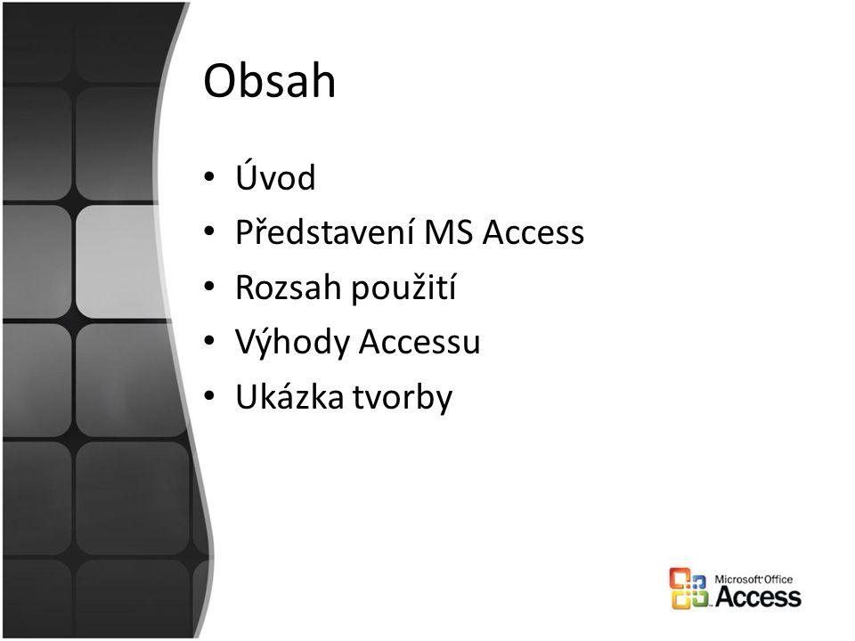 Obsah Úvod Představení MS Access Rozsah použití Výhody Accessu Ukázka tvorby