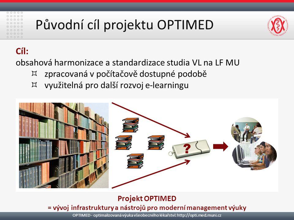 Původní cíl projektu OPTIMED Cíl: obsahová harmonizace a standardizace studia VL na LF MU ³zpracovaná v počítačově dostupné podobě ³využitelná pro další rozvoj e-learningu Projekt OPTIMED = vývoj infrastruktury a nástrojů pro moderní management výuky .