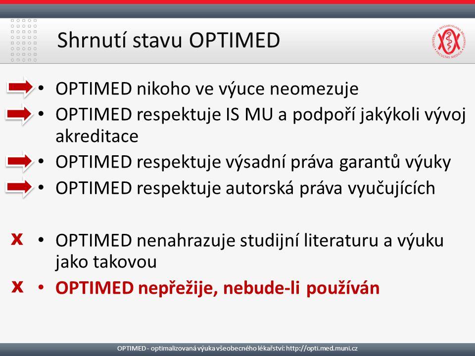 Shrnutí stavu OPTIMED OPTIMED nikoho ve výuce neomezuje OPTIMED respektuje IS MU a podpoří jakýkoli vývoj akreditace OPTIMED respektuje výsadní práva garantů výuky OPTIMED respektuje autorská práva vyučujících OPTIMED nenahrazuje studijní literaturu a výuku jako takovou OPTIMED nepřežije, nebude-li používán X X OPTIMED - optimalizovaná výuka všeobecného lékařství: http://opti.med.muni.cz