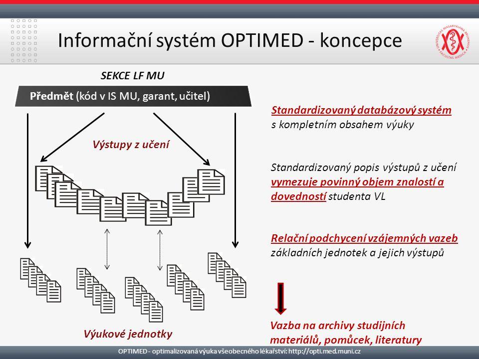 Informační systém OPTIMED - koncepce Předmět (kód v IS MU, garant, učitel) Výstupy z učení Výukové jednotky Standardizovaný databázový systém s kompletním obsahem výuky Standardizovaný popis výstupů z učení vymezuje povinný objem znalostí a dovedností studenta VL Relační podchycení vzájemných vazeb základních jednotek a jejich výstupů SEKCE LF MU Vazba na archivy studijních materiálů, pomůcek, literatury OPTIMED - optimalizovaná výuka všeobecného lékařství: http://opti.med.muni.cz