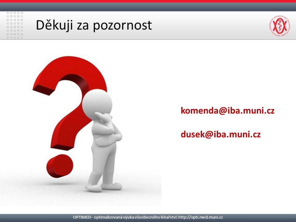 Děkuji za pozornost komenda@iba.muni.cz dusek@iba.muni.cz OPTIMED - optimalizovaná výuka všeobecného lékařství: http://opti.med.muni.cz