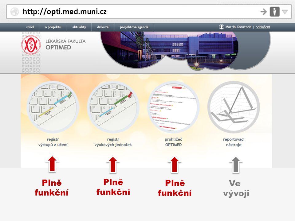 http://opti.med.muni.cz Plně funkční Plně funkční Plně funkční Ve vývoji