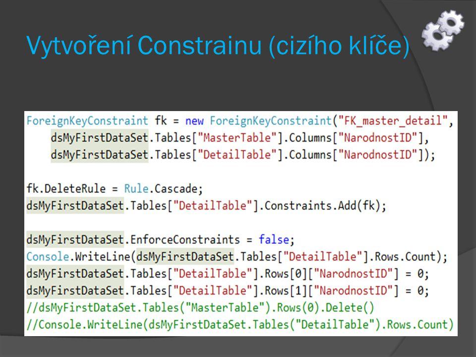 Vytvoření Constrainu (cizího klíče)