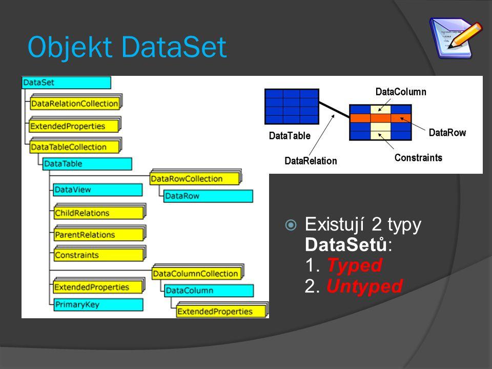 Objekt DataSet  Existují 2 typy DataSetů: 1. Typed 2. Untyped