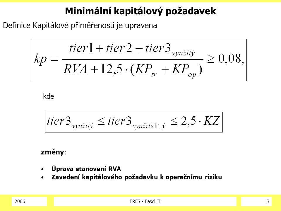 2006ERFS - Basel II5 Minimální kapitálový požadavek Definice Kapitálové přiměřenosti je upravena kde změny : Úprava stanovení RVA Zavedení kapitálového požadavku k operačnímu riziku