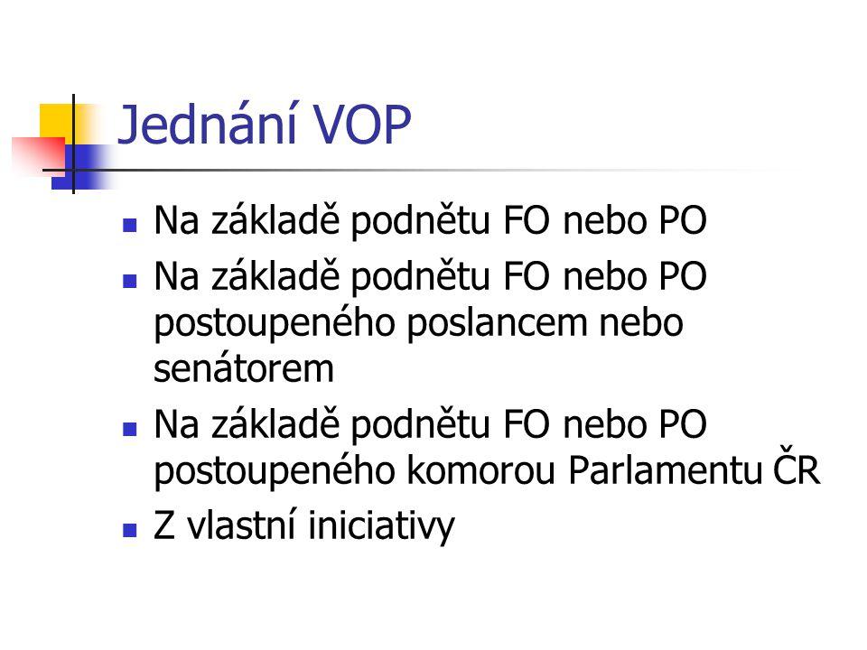 Jednání VOP Na základě podnětu FO nebo PO Na základě podnětu FO nebo PO postoupeného poslancem nebo senátorem Na základě podnětu FO nebo PO postoupeného komorou Parlamentu ČR Z vlastní iniciativy