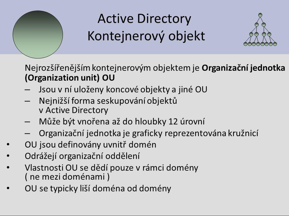 Příklad: Hierarchie OU pochoutka.org vedení admin uživatelé zdroje tiskárny počítače tiskárny počítače externisté firemní externisté firemní