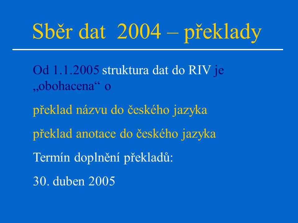 """Sběr dat 2004 – překlady Od 1.1.2005 struktura dat do RIV je """"obohacena o překlad názvu do českého jazyka překlad anotace do českého jazyka Termín doplnění překladů: 30."""
