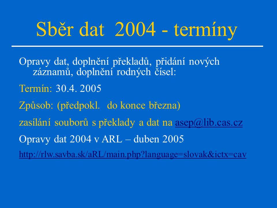 Sběr dat 2004 - termíny Opravy dat, doplnění překladů, přidání nových záznamů, doplnění rodných čísel: Termín: 30.4.
