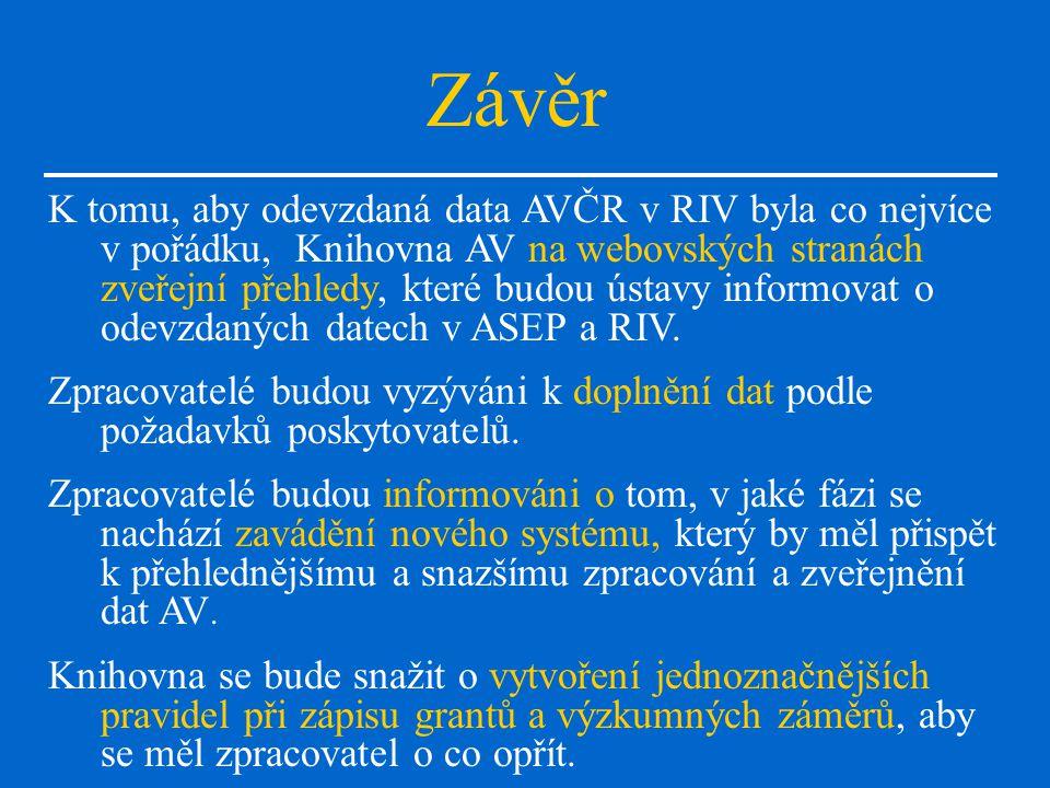 Závěr K tomu, aby odevzdaná data AVČR v RIV byla co nejvíce v pořádku, Knihovna AV na webovských stranách zveřejní přehledy, které budou ústavy informovat o odevzdaných datech v ASEP a RIV.