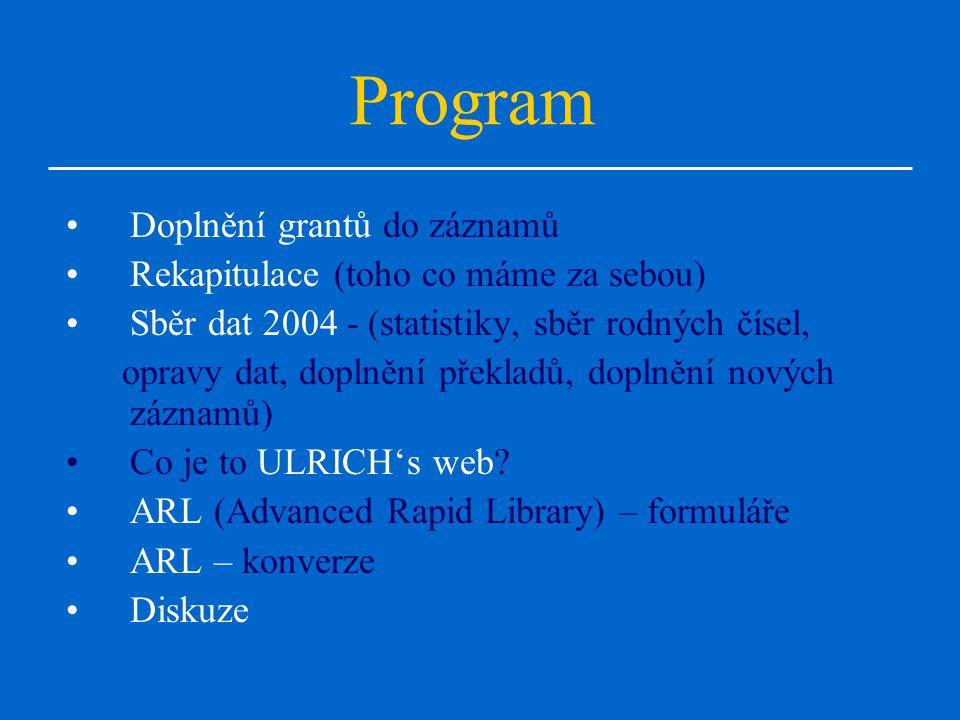 Program Doplnění grantů do záznamů Rekapitulace (toho co máme za sebou) Sběr dat 2004 - (statistiky, sběr rodných čísel, opravy dat, doplnění překladů, doplnění nových záznamů) Co je to ULRICH's web.