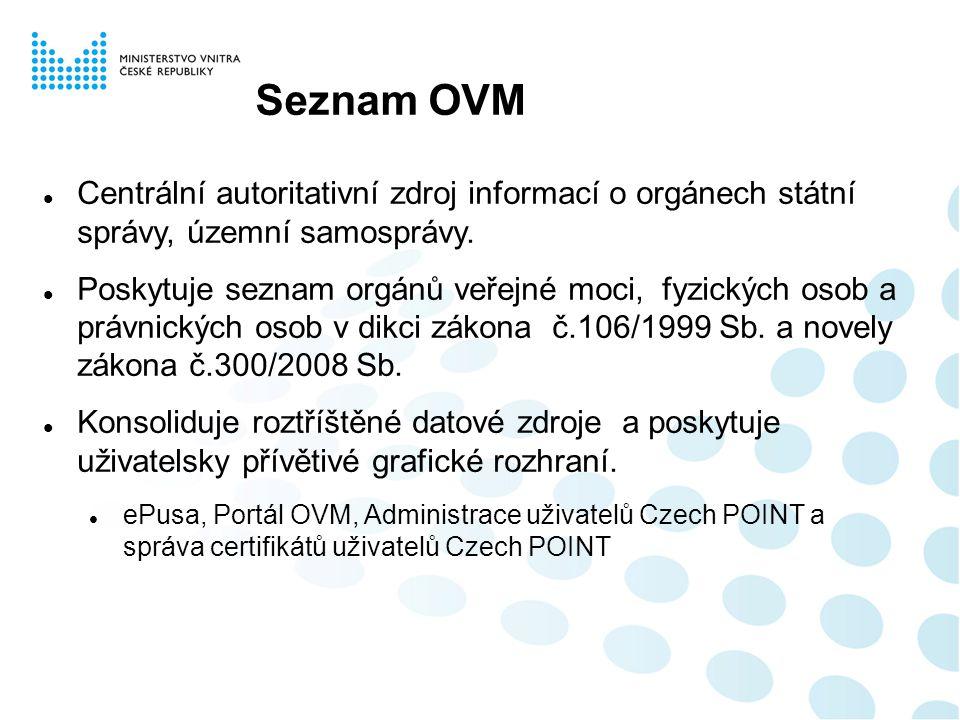 Seznam OVM Centrální autoritativní zdroj informací o orgánech státní správy, územní samosprávy. Poskytuje seznam orgánů veřejné moci, fyzických osob a