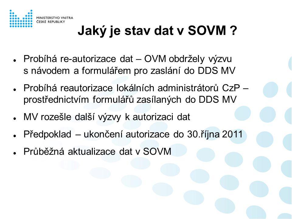 Jaký je stav dat v SOVM ? Probíhá re-autorizace dat – OVM obdržely výzvu s návodem a formulářem pro zaslání do DDS MV Probíhá reautorizace lokálních a