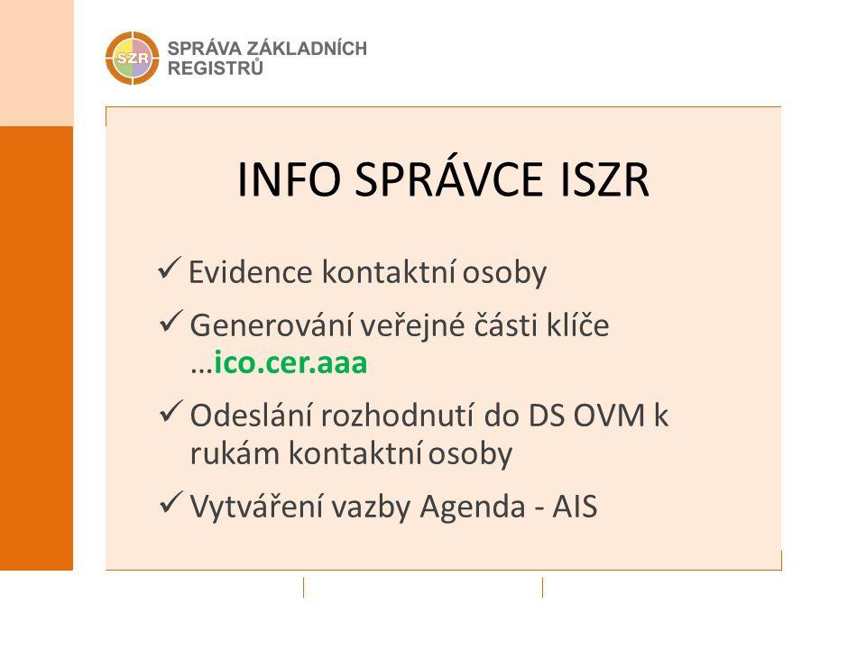 INFO SPRÁVCE ISZR Evidence kontaktní osoby Generování veřejné části klíče …ico.cer.aaa Odeslání rozhodnutí do DS OVM k rukám kontaktní osoby Vytváření vazby Agenda - AIS