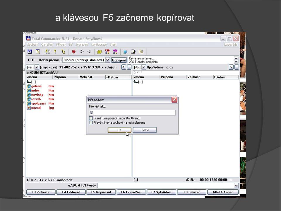 a klávesou F5 začneme kopírovat