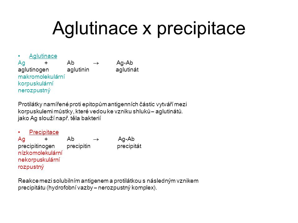 Aglutinace Přímá Ag jsou přirozeně součástí povrch.