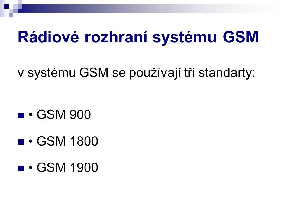 Rádiové rozhraní systému GSM v systému GSM se používají tři standarty: GSM 900 GSM 1800 GSM 1900