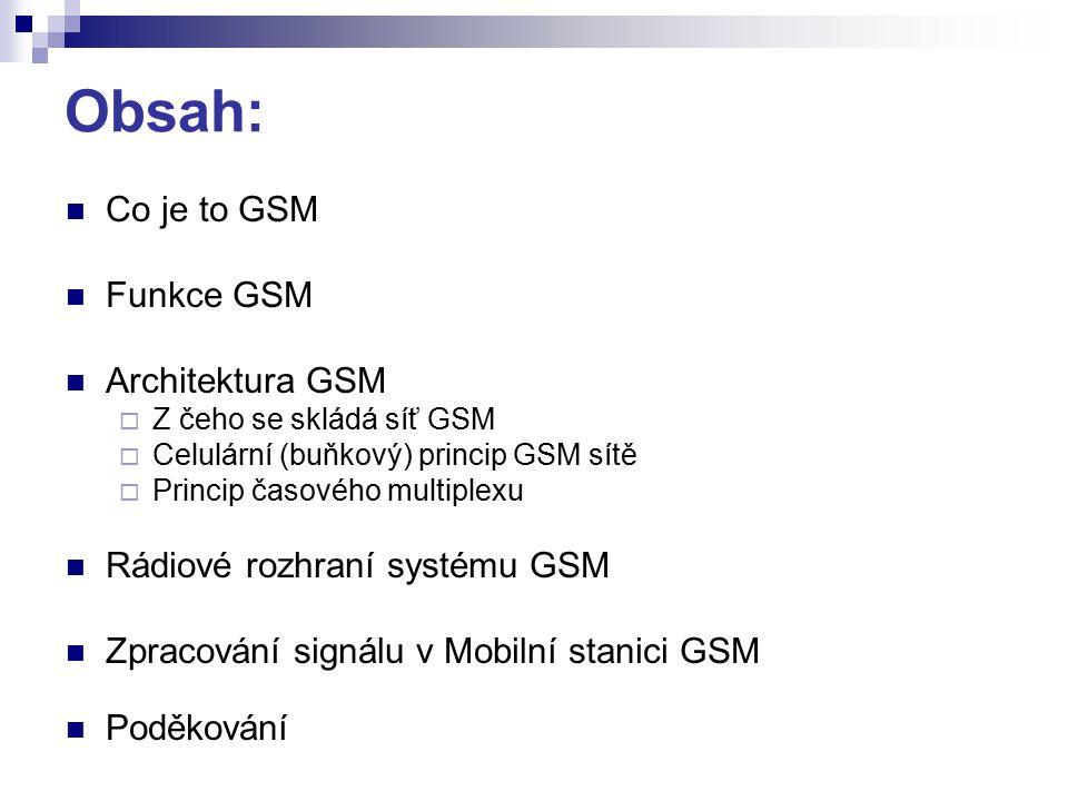 Obsah: Co je to GSM Funkce GSM Architektura GSM  Z čeho se skládá síť GSM  Celulární (buňkový) princip GSM sítě  Princip časového multiplexu Rádiové rozhraní systému GSM Zpracování signálu v Mobilní stanici GSM Poděkování