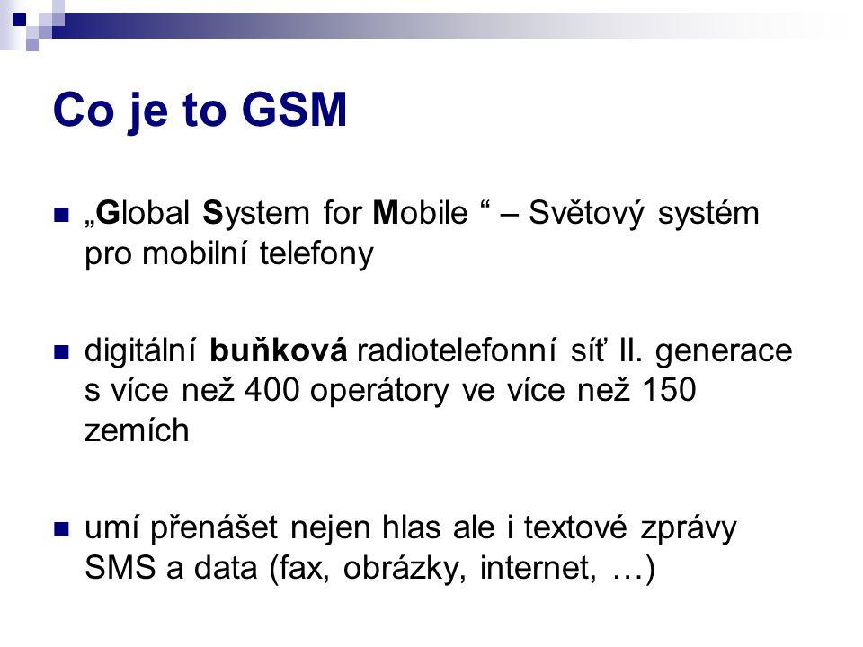 """Co je to GSM """"Global System for Mobile – Světový systém pro mobilní telefony digitální buňková radiotelefonní síť II."""
