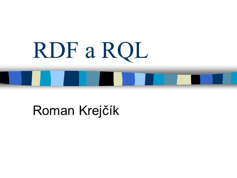 Syntaxe RDFS Součástí RDF dokumentu Namespace http://www.w3.org/2000/01/rdf-schema# Definice třídy Dědičnost