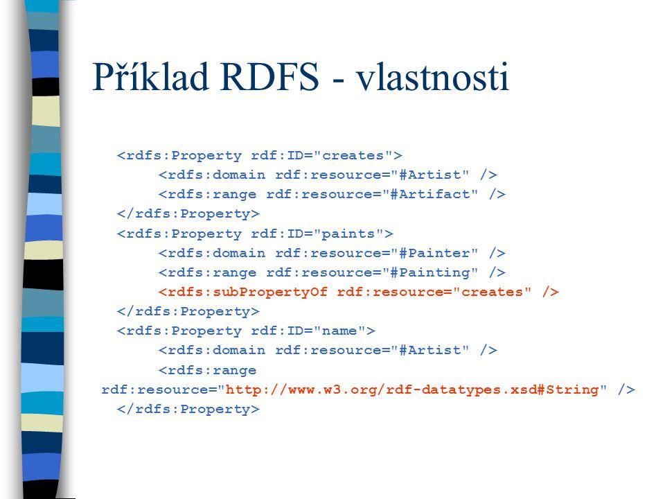 Příklad RDFS - vlastnosti <rdfs:range rdf:resource= http://www.w3.org/rdf-datatypes.xsd#String />