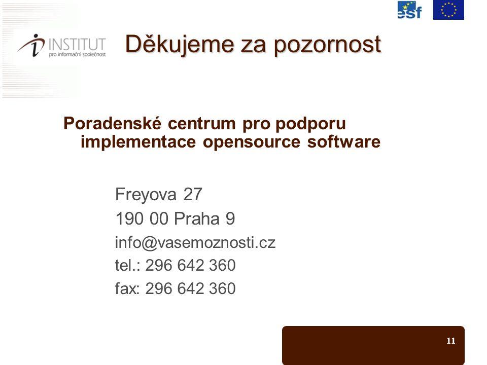 11 Děkujeme za pozornost Poradenské centrum pro podporu implementace opensource software Freyova 27 190 00 Praha 9 info@vasemoznosti.cz tel.: 296 642 360 fax: 296 642 360