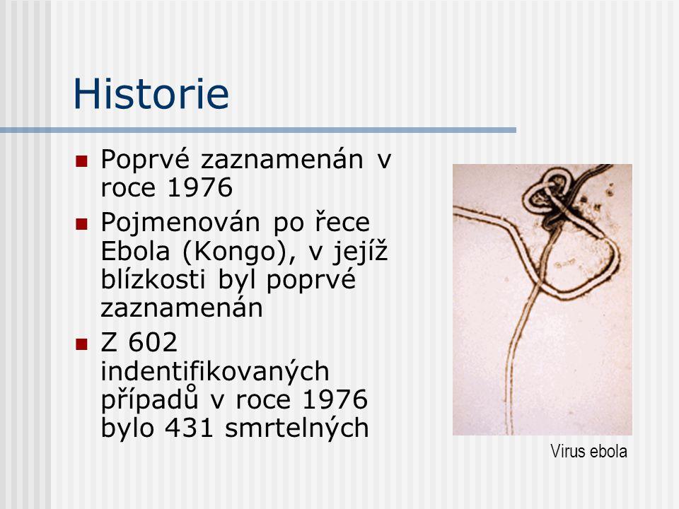 Historie Poprvé zaznamenán v roce 1976 Pojmenován po řece Ebola (Kongo), v jejíž blízkosti byl poprvé zaznamenán Z 602 indentifikovaných případů v roce 1976 bylo 431 smrtelných Virus ebola