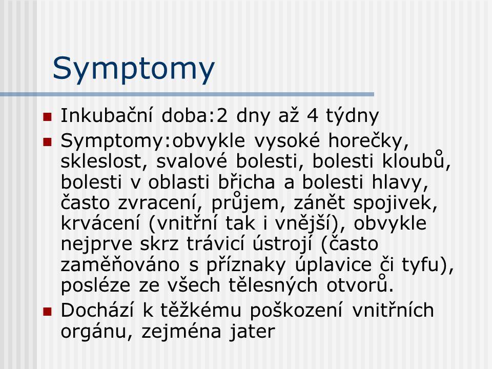 Symptomy Inkubační doba:2 dny až 4 týdny Symptomy:obvykle vysoké horečky, skleslost, svalové bolesti, bolesti kloubů, bolesti v oblasti břicha a bolesti hlavy, často zvracení, průjem, zánět spojivek, krvácení (vnitřní tak i vnější), obvykle nejprve skrz trávicí ústrojí (často zaměňováno s příznaky úplavice či tyfu), posléze ze všech tělesných otvorů.