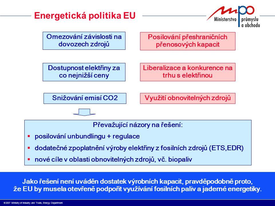  2007 Ministry of Industry and Trade, Energy Department Energetická politika EU  Závislost EU na dovozu zdrojů roste, aktuálně >60% (ČR 40%)  Bez ohledu na intenzivní aktivity v oblasti úspor (nová legislativa, investiční podpory) roste poptávka po elektřině cca o 10% za 5 let  Pouze 4 státy v EU mají signifikantní exportní bilanci (FR, DE,CZ, PL)  Regionální distorze  nedostatek elektřiny: Benelux, Itálie, Balkán, Velká Británie  vyrovnaná bilance: severské země, Německo, Španělsko  přebytek kapacit: Střední Evropa, Francie, Ukrajina  Německo a Švédsko, které mají zatím vyrovnanou bilanci, plánují postupné utlumení jaderných zdrojů významné tranzity elektřiny růst cen elektřiny zvyšující se nároky na regulaci soustav Je řešením unbundling a umělé vytváření konkurenčního prostředí?