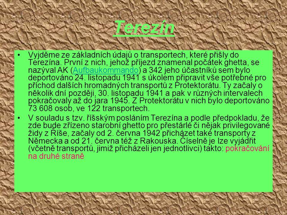Terezín Vyjděme ze základních údajů o transportech, které přišly do Terezína. První z nich, jehož příjezd znamenal počátek ghetta, se nazýval AK (Aufb
