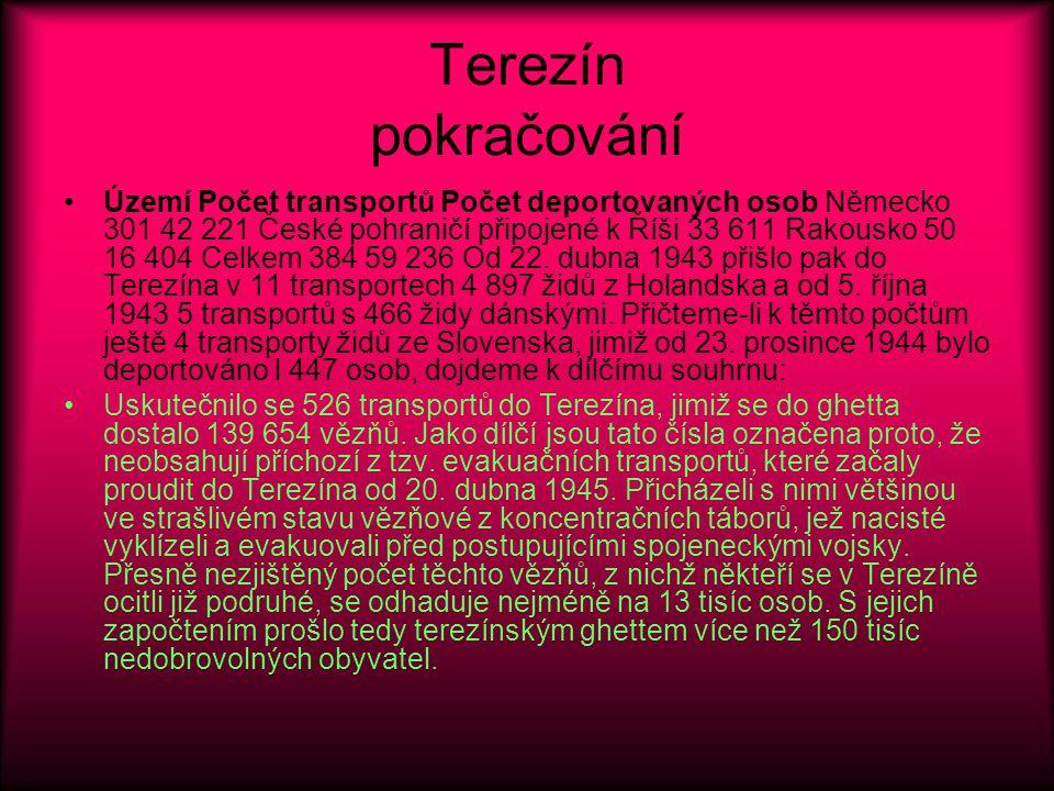 Terezín pokračování Území Počet transportů Počet deportovaných osob Německo 301 42 221 České pohraničí připojené k Říši 33 611 Rakousko 50 16 404 Celkem 384 59 236 Od 22.