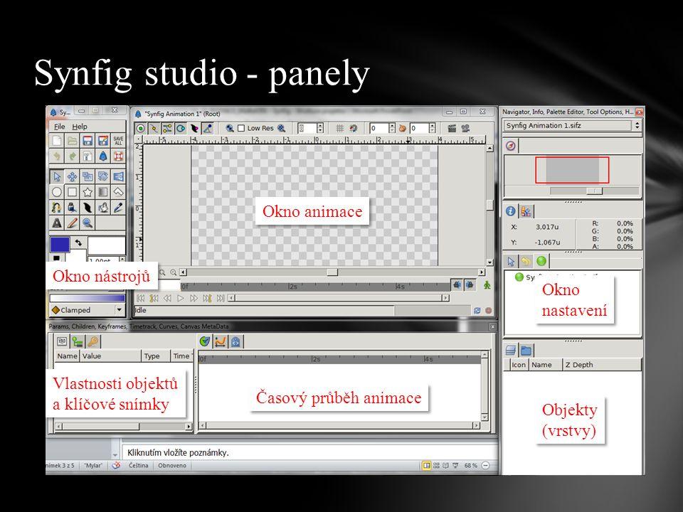 Synfig studio - panely Okno nástrojů Okno animace Vlastnosti objektů a klíčové snímky Časový průběh animace Objekty (vrstvy) Okno nastavení