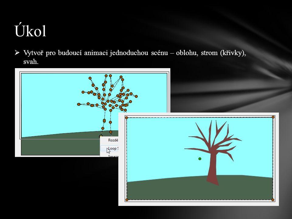  Vytvoř pro budoucí animaci jednoduchou scénu – oblohu, strom (křivky), svah. Úkol