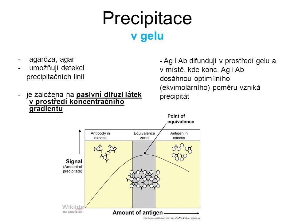 Podle počtu difundujících reaktantů: jednoduchá radiální imunodifúze -koncetrační gradient jednoho z reaktantů (většinou Ag) -druhý reaktant (většinou Ab) - rovnoměrně rozptýlen ve struktuře gelu -výsledkem jsou ostře ohraničené kroužky precipitátu -plocha prstence - p.ú.