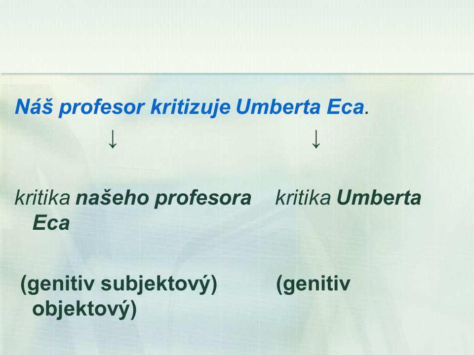 Náš profesor kritizuje Umberta Eca.