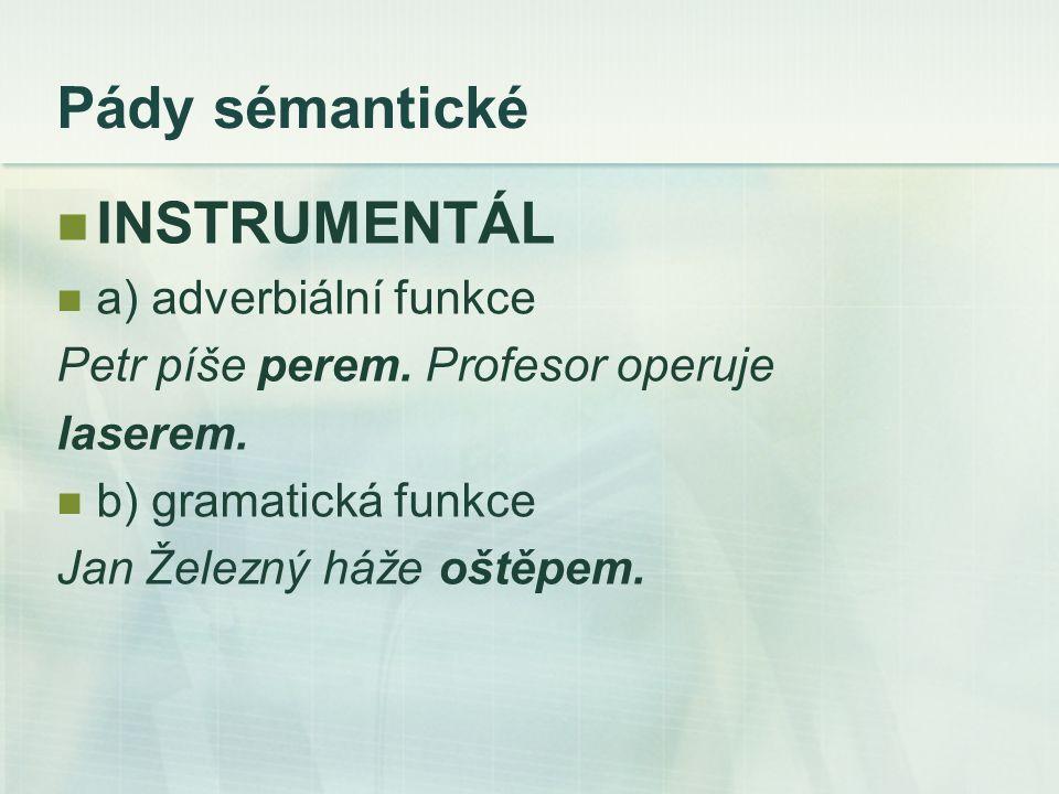Pády sémantické INSTRUMENTÁL a) adverbiální funkce Petr píše perem.
