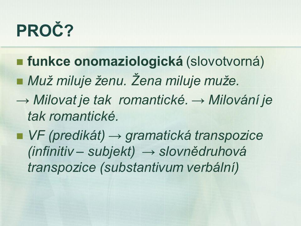PROČ. funkce onomaziologická (slovotvorná) Muž miluje ženu.