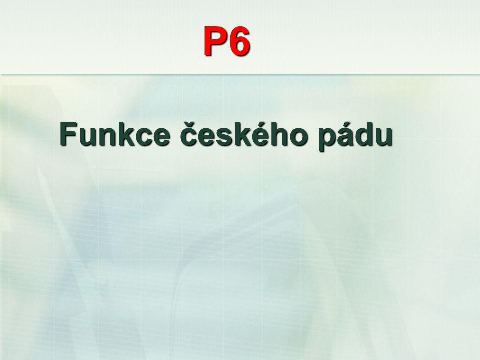P6 Funkce českého pádu