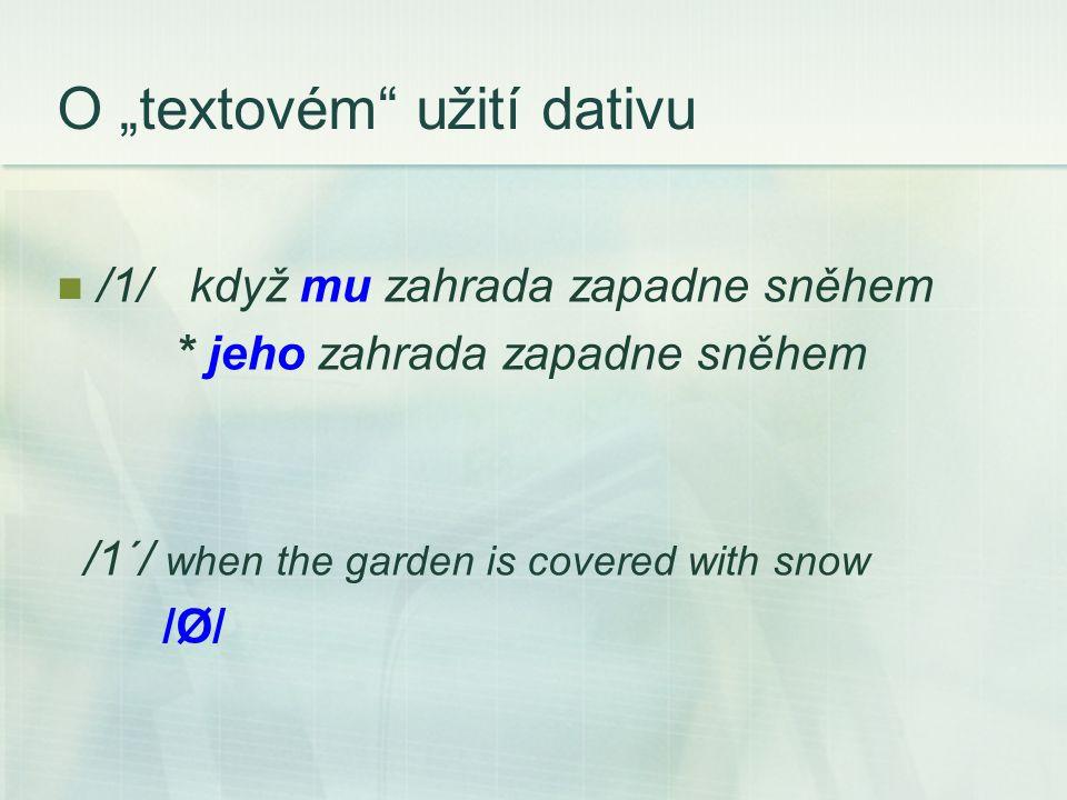 """O """"textovém užití dativu /1/ když mu zahrada zapadne sněhem * jeho zahrada zapadne sněhem /1´/ when the garden is covered with snow /Ø/"""