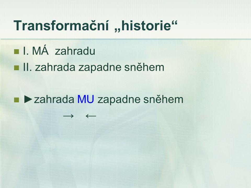 """Transformační """"historie I. MÁ zahradu II. zahrada zapadne sněhem ►zahrada MU zapadne sněhem → ←"""