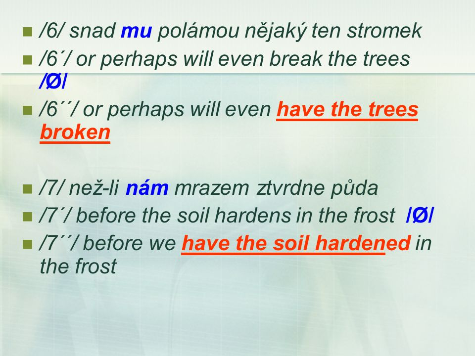 /6/ snad mu polámou nějaký ten stromek /6´/ or perhaps will even break the trees /Ø/ /6´´/ or perhaps will even have the trees broken /7/ než-li nám m