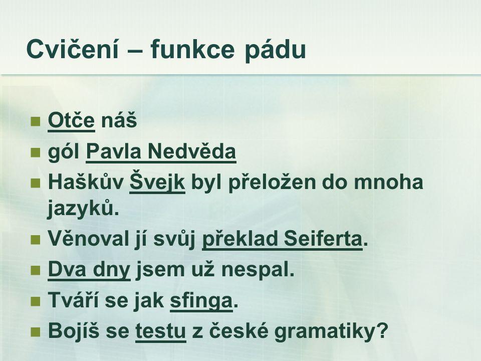 Cvičení – funkce pádu Otče náš gól Pavla Nedvěda Haškův Švejk byl přeložen do mnoha jazyků.
