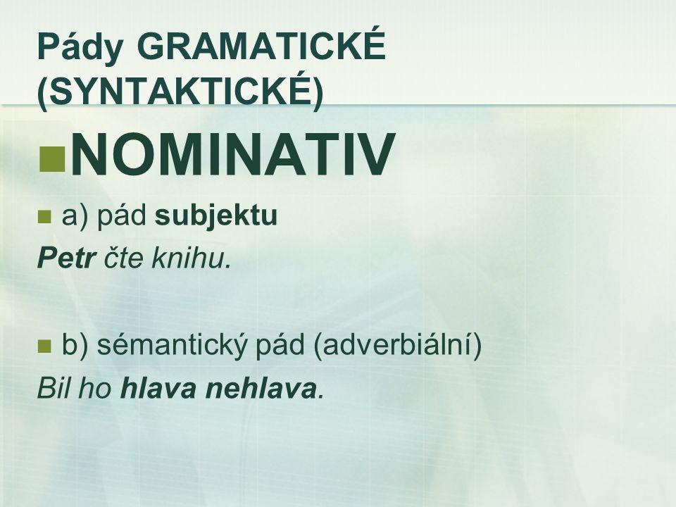 Pády GRAMATICKÉ (SYNTAKTICKÉ) NOMINATIV a) pád subjektu Petr čte knihu.
